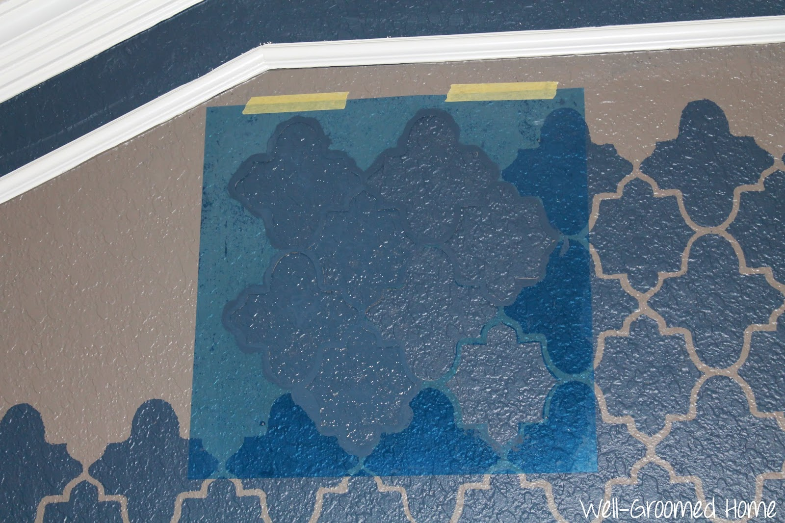 Stenciling a textured wall master bedroom well groomed home stenciling a textured wall master bedroom amipublicfo Images