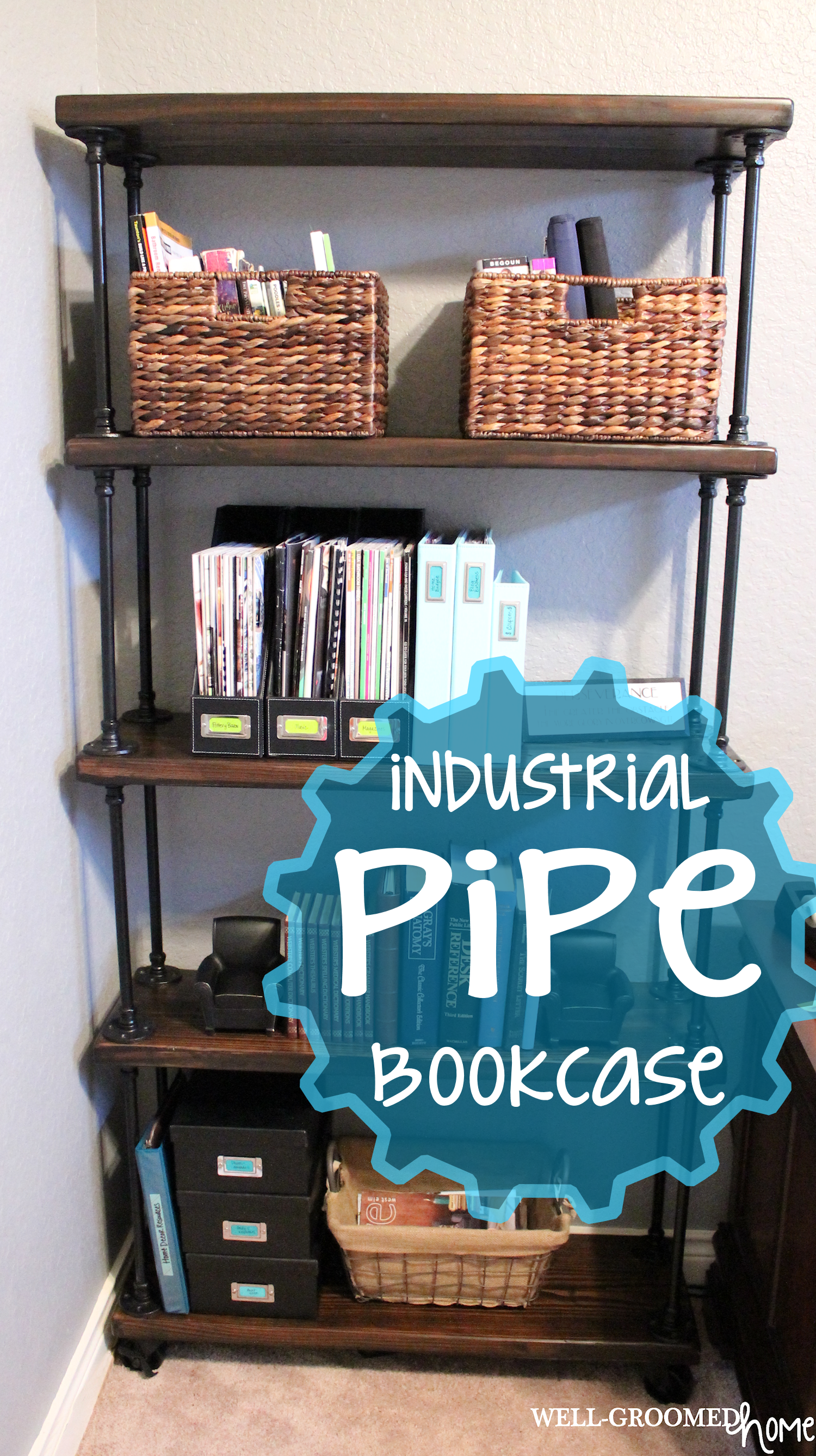 Industrial Bookcase Diy Industrial Pipe Bookcase Well Groomed Home